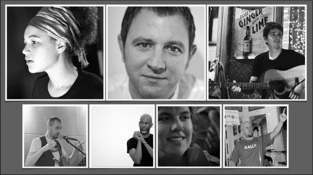 Clockwise from upper left:  Abby Oliveira, Brian Conaghan, Enda Roche, Kalle Ryan, Erin Fornoff, Raven, Karl Parkinson.